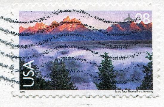 USA: Park Narodowy Grand Teton w Wyoming (znaczek)